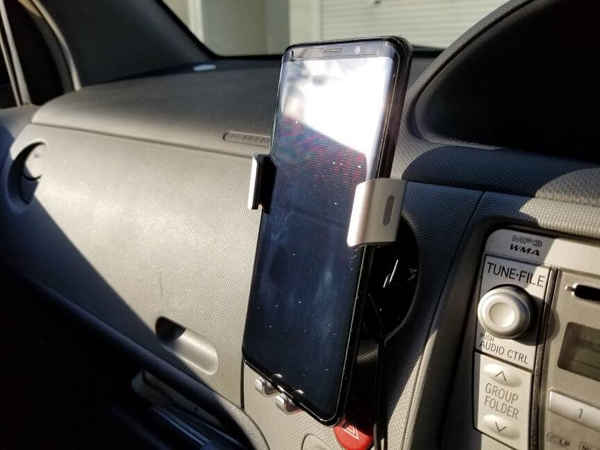Autowit Qiワイヤレス充電器 車載ホルダーにGalaxy S9+を載せてみた